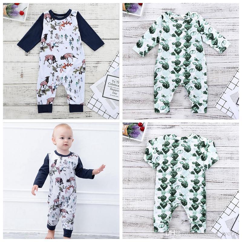 5d196c73 2019 Newborn Baby Girl Clothes Boys Christmas Elk Santa Print Rompers Infant  Long Sleeved Jumpsuits Kids Designer Onesies Brand Clothing YL411 From ...