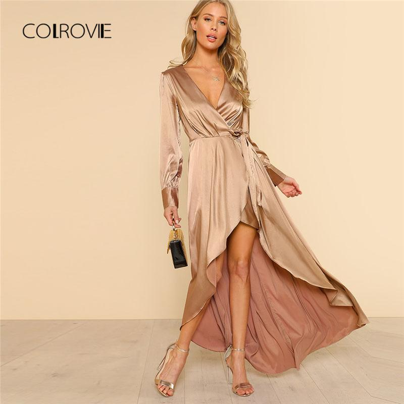 3464044b9d 2019 COLROVIE Long Sleeve Asymmetrical Wrap Dress Long Sleeve High Waist Button  Dress 2018 Deep V Neck Party Ladies From Firstcloth