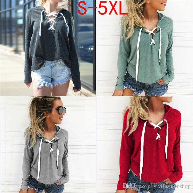 Plus Size Women Hoodies Sweatshirt Lace Up Casual Long Sleeve Crop ... 815eac52e3a8