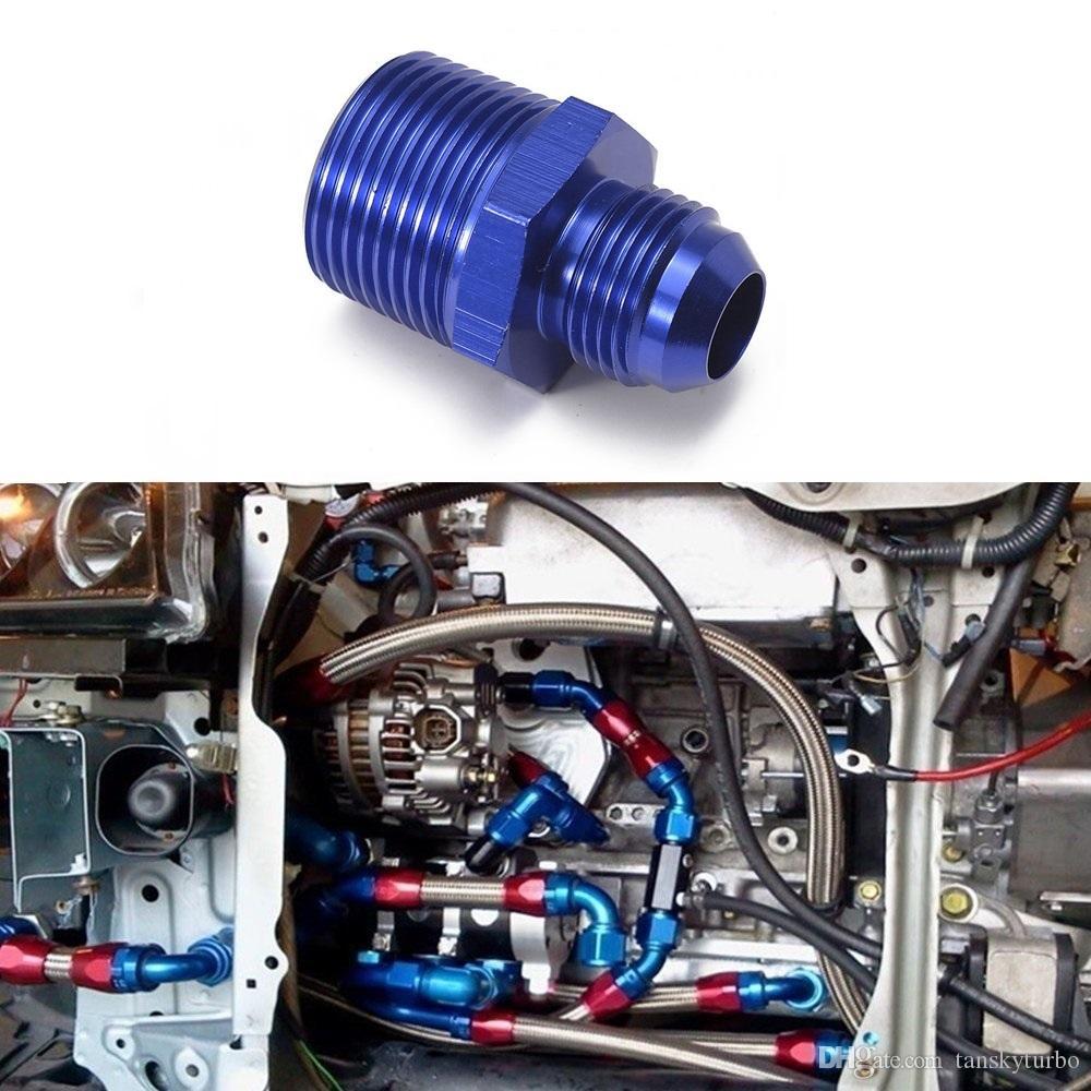 10 stks / partij Olie / Brandstofleidingslang / Gauge Mannelijke / Slangunie End Montage Adapter Aluminium voor oliekoeler / Gauge AN8-3 / 4'NRT