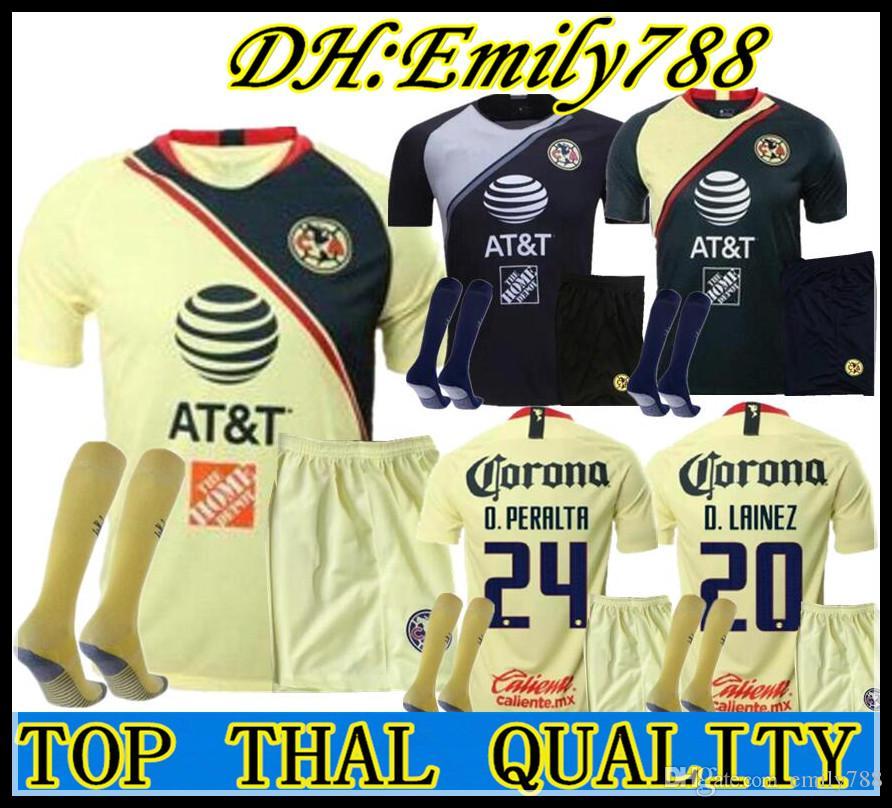 a45e48c77 Compre 2018 2019 LIGA MX Club America Jersey De Fútbol MEN KITS O.PERALTA  I.RENATO 18 19 Portero De México Home Away Football Shirt Conjuntos De  Adulto A ...