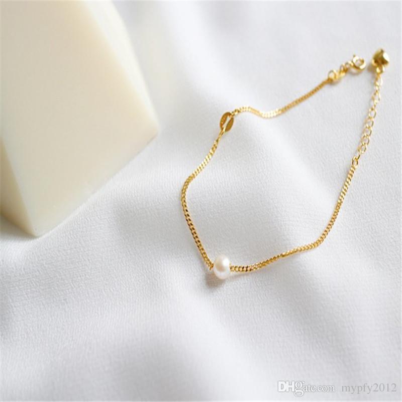 18k color oro 5MM pulseras de perlas de agua dulce Real 100% 925 cadenas de eslabones de plata pulseras brazaletes para mujeres