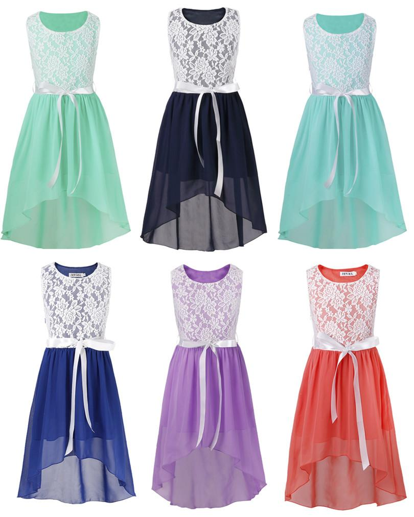 Kids Flower Girl Dresses For Wedding High Low Chiffon Pageant Party Floral Girls Ball Gown Princess Bridal Birthday Party Dress