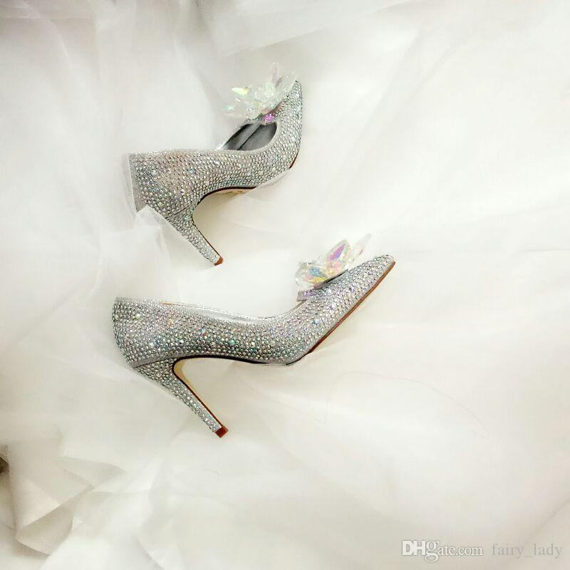 Cinderella Rhinestone High Heel Wedding Shoes For Women 2018 Pointed Toe Sparkling Beading Crystal Women Pumps Bridal Accessories Gowns