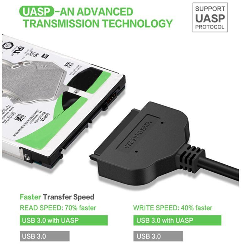 Câble adaptateur USB3.0 vers SATA 22pin Pour 2,5 pouces HDD SSD SATA 2.5