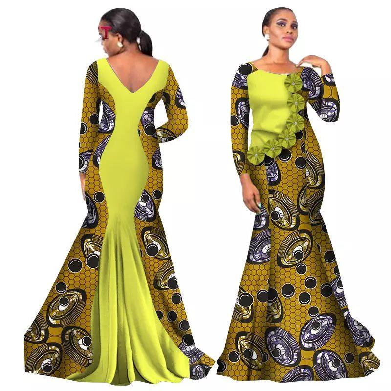 81967bba063 Acheter 2018 Bazin Riche Robes Africaines Pour Femme Impression Splice O  Cou Sirène Robes Dos Nu Dashiki Vêtements Africains Wy2105 De  47.48 Du ...