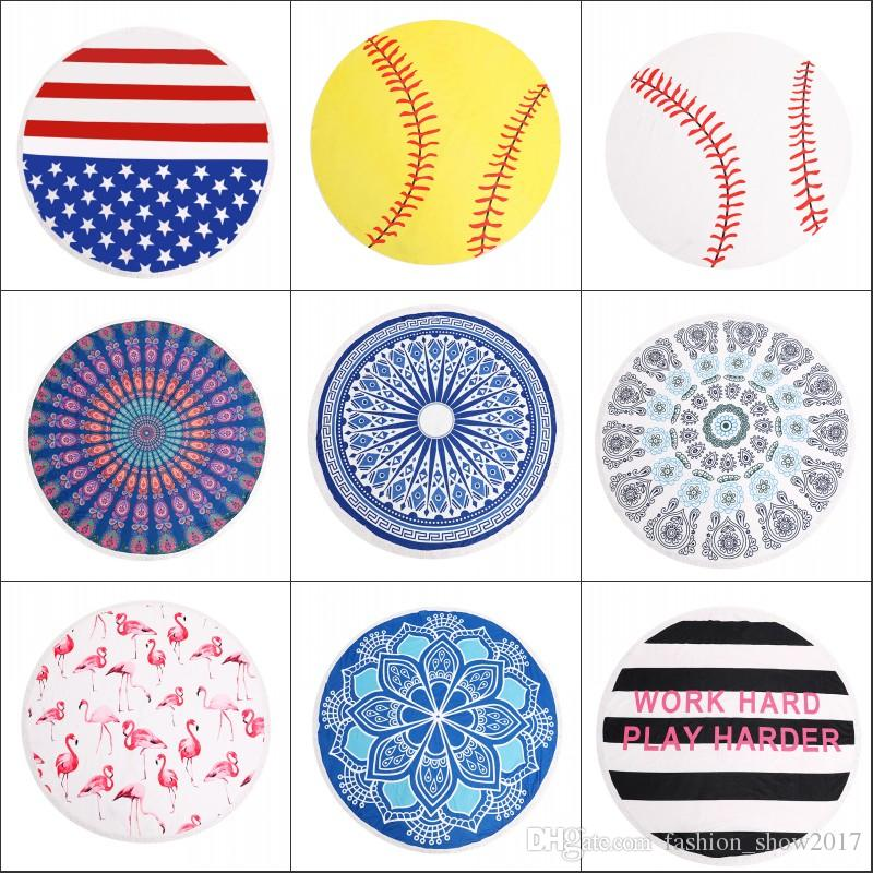 Round Beach Towel Blanket Geometric Donuts Printed Microfiber Shower Towels Circle Bohemia Bath Towels Lady Shawl Mat