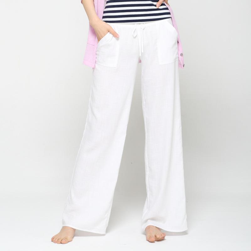 3ecf58c19da 2019 Wide Leg Pants Women White Coon Linen Pants Plus Size Long Casual  Drawstring Harem Trousers Loose Summer Pantalon Femme From Vikey16