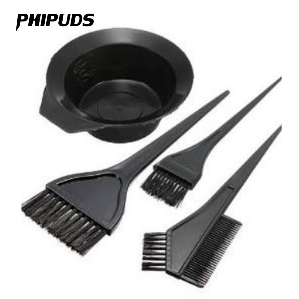 4Pcs/set Accessories Black Plastic Hair Dye Colouring Brush Comb Bowl  Hairdressing Styling Tools