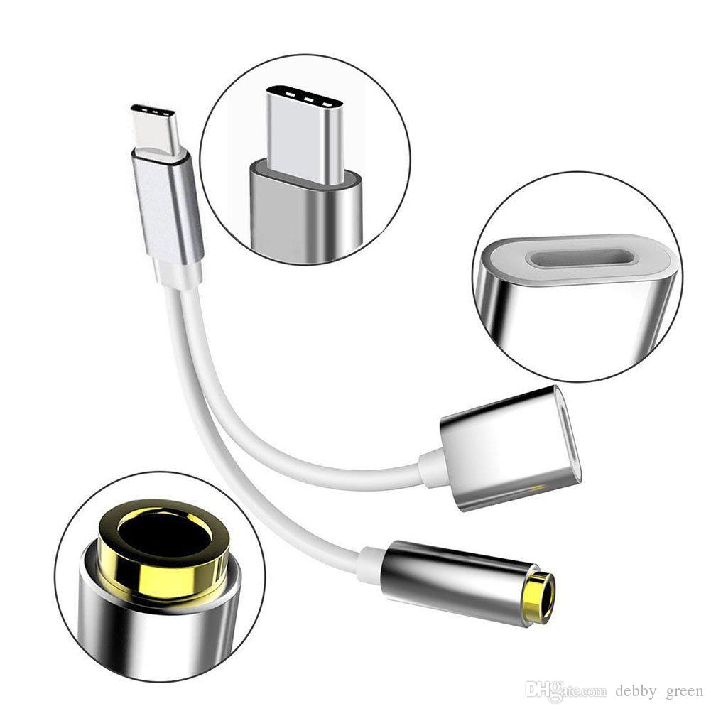 2 in 1 ladegerät und audio typ c kopfhörer kopfhörer jack adapter anschlusskabel usb-c zu 3,5mm audio adapter für moto z huawei mate 10 pro