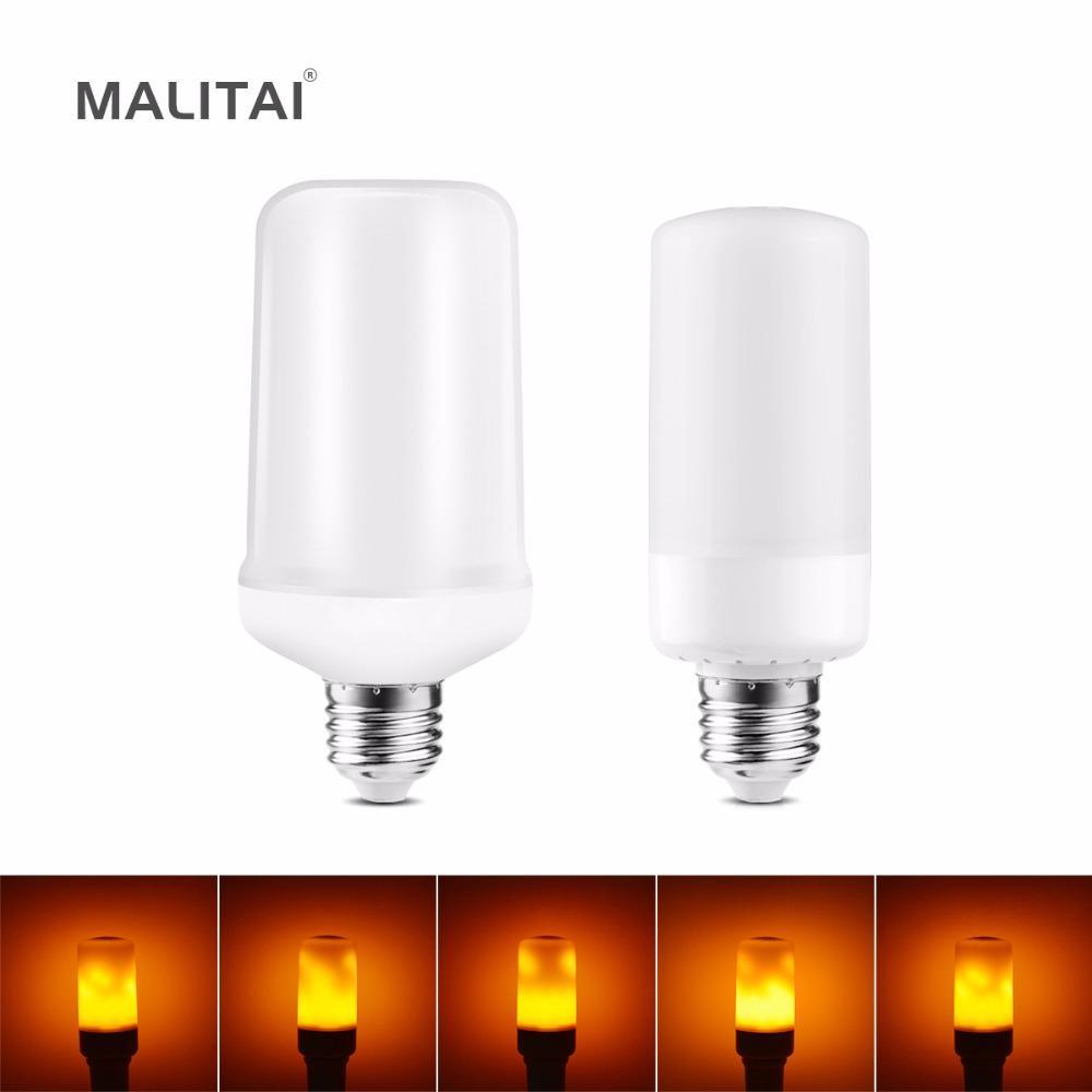 Led Flame Effect Fire Light Bulb E27 E26 E14 B22 Creative Novety Night Emulation Flickering Decoration Lamp 110v 220v Candelabra Bulbs Energy