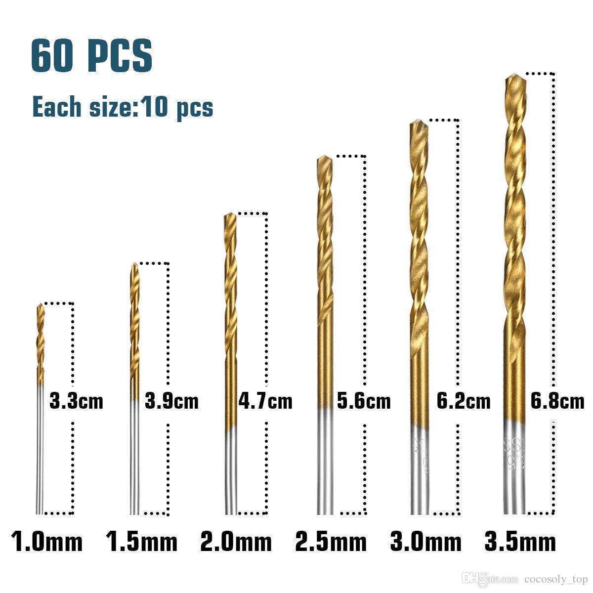 /Set 1mm-3.5mm Titanium Coated High Speed Steel Drill Bit Manual Twist Drill Bits Straight Shank Drill Repair Parts Tool