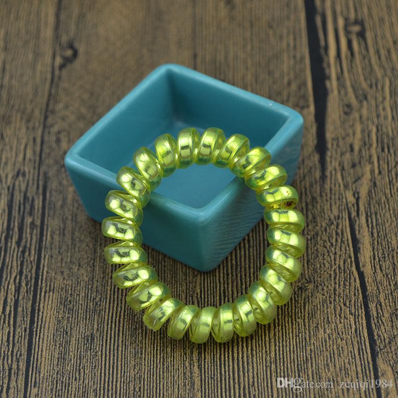 Nueva moda de alambre de alambre elástico bandas para el cabello cuerda del anillo del pelo corbata de goma espiral bandas de goma accesorios para el cabello para damas