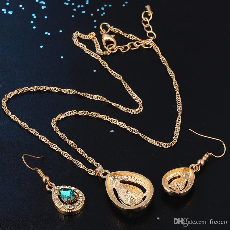Jewelry Sets - Chocker Earring Sets Gold Plated Alloy Dangles with Gemstone Necklaces Pendants Crystal Chandelier