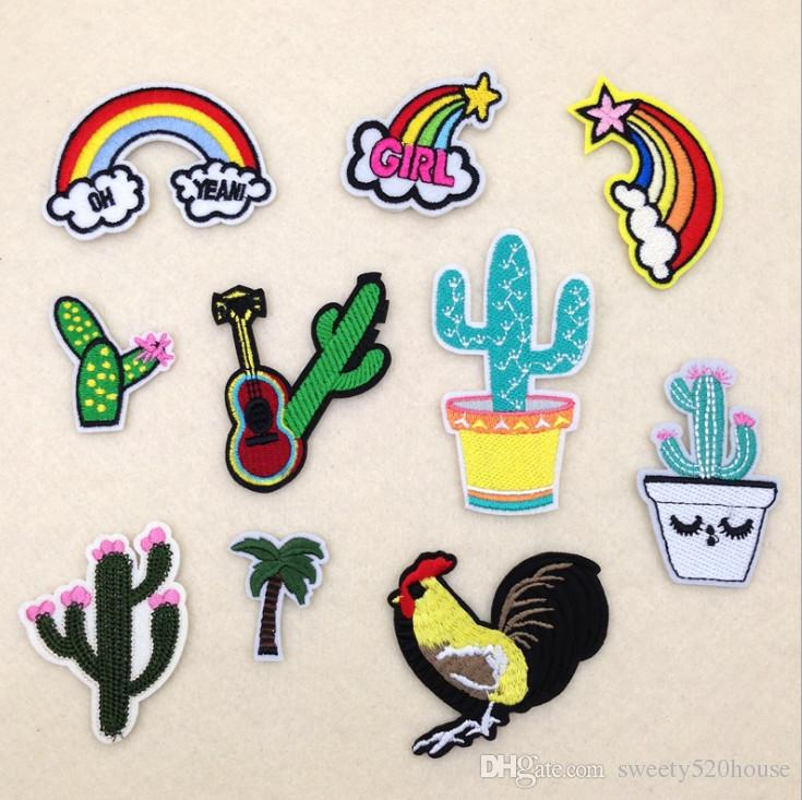 Parches Embroidery Iron on Patches for Clothing DIY Foods Stripes Clothes Stickers Appliques