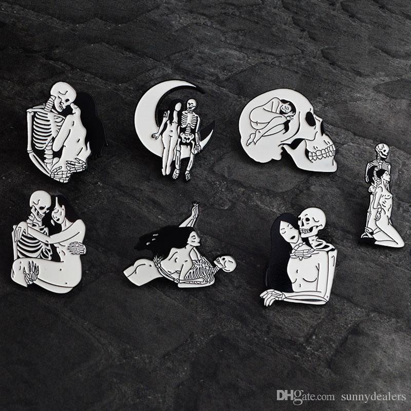 Cheap Price Skull Ribbon Bow Lapel Pin Badge Pin Arts,crafts & Sewing