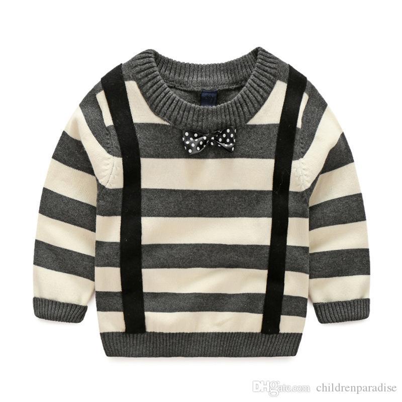 Jungen Kleidung Casual Stricken Jungen Pullover Solide Langarm-pullover Baumwolle Warme Winter Pullover Stickerei Jungen Kleidung 1-7 T Kinder Kleidung Pullover