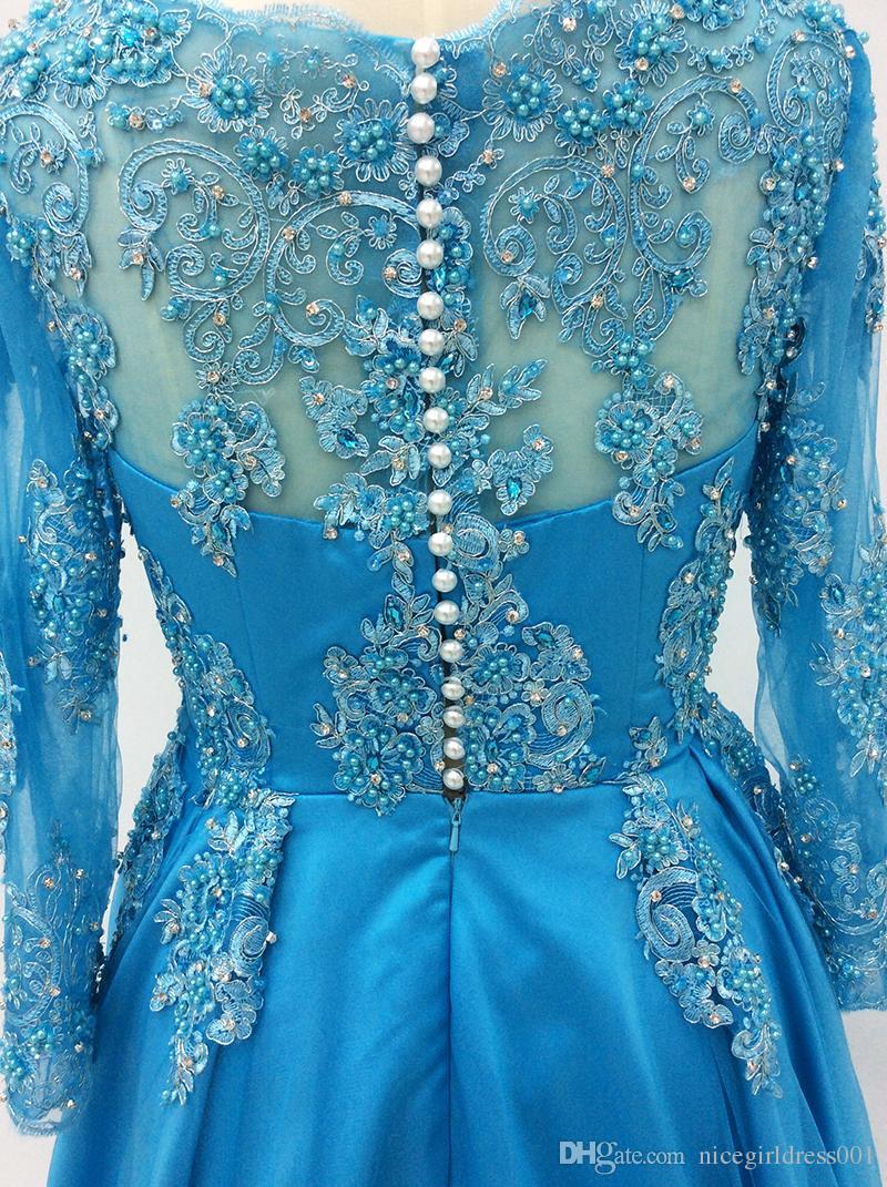 Длинные рукава платья выпускного вечера 2018 линия бисером кружева аппликации синий арабский женщины вечерние платья вечерние платья Vestidos де феста