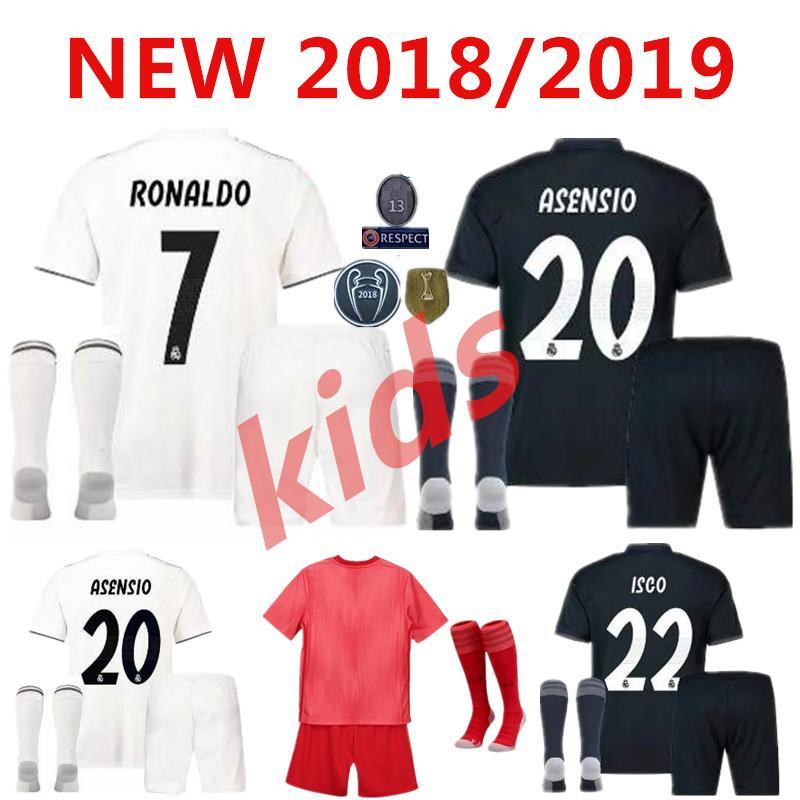 Großhandel 18 19 Real Madrid Kinder Fußball Trikot Kits Jungen