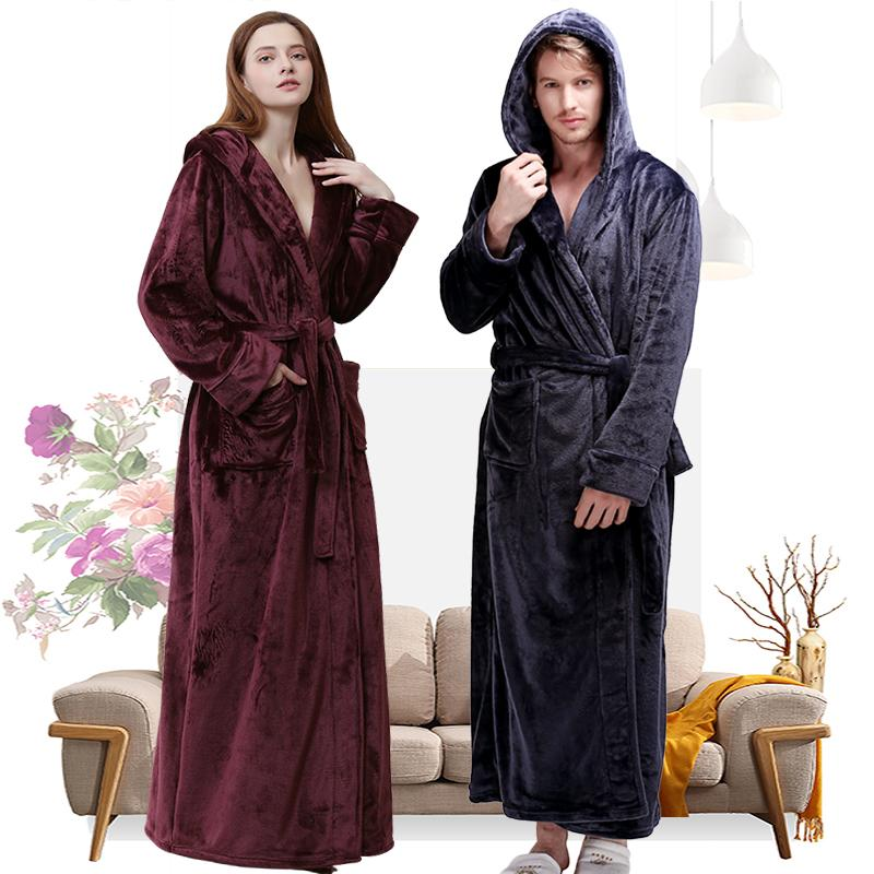 8843de6638 2019 Women Winter Hooded Extra Long Thick Flannel Bath Robe Luxury Peignoir  Warm Dressing Gown Men Bathrobe Bridesmaid Wedding Robes From Crutchline