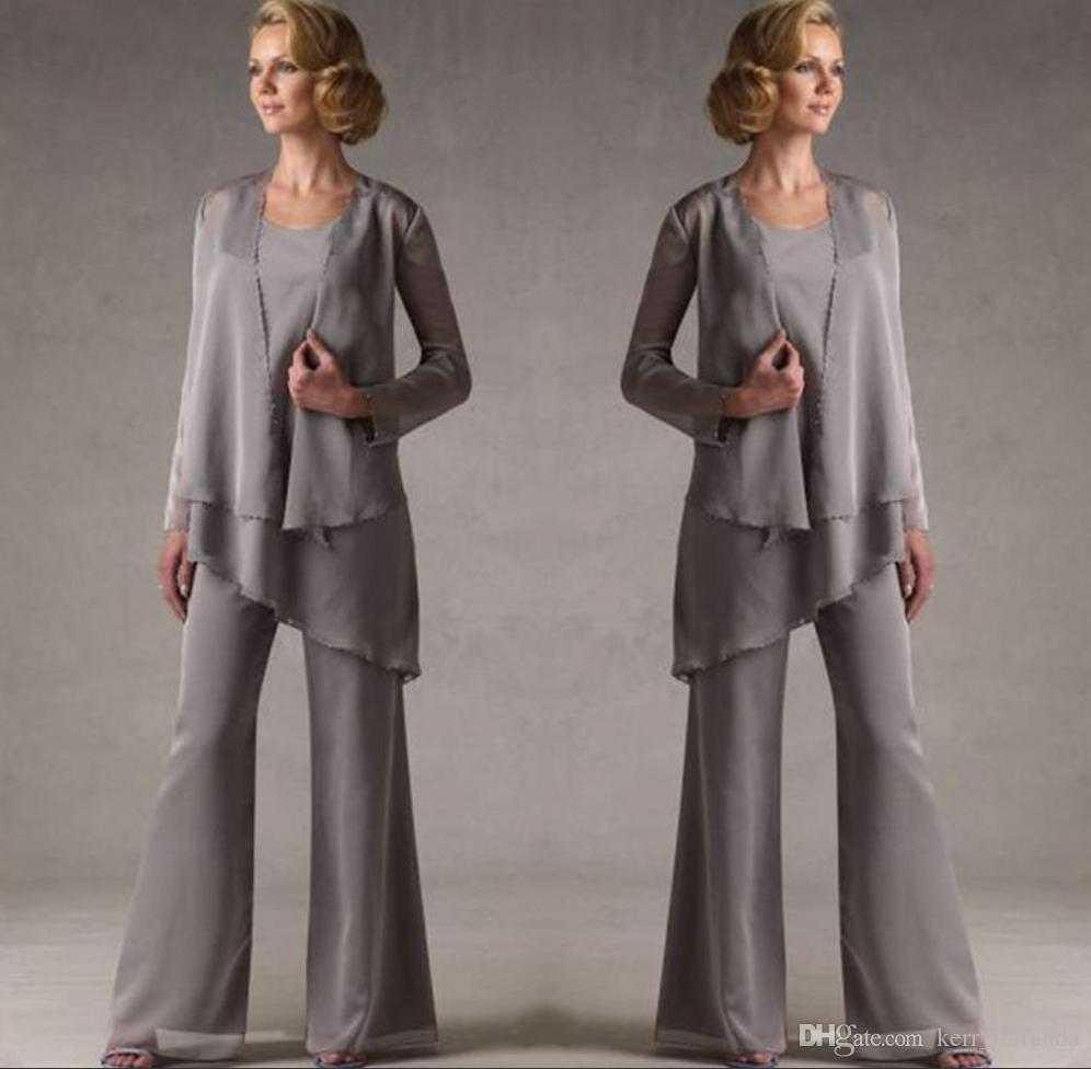 Mother Of The Groom Grey Chiffon Bridal Mother Bride Pant Suits With Jacket Women Evening Pant Suits Long Sleeve Evening Dresses DH325
