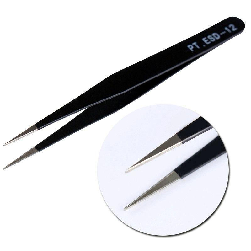 Tignish Beauty Seashine 2 Unids / lote Antiestático Galvanoplastia No Magnético ESD Acero Inoxidable Curvo Recto Cejas Pinzas Maquillaje Herramientas