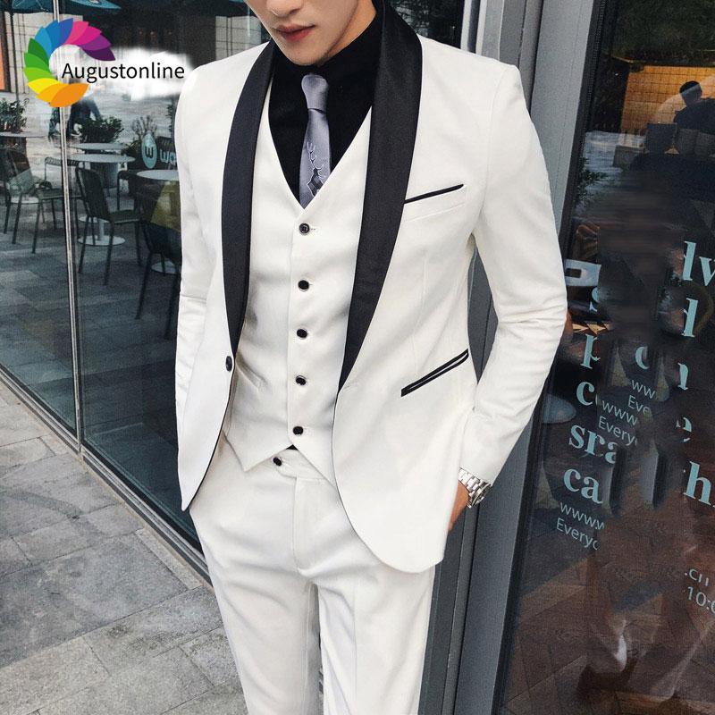 ca3ea90b5565 2019 Tailored White Groom Wedding Suits Men Suits Jacket Pants Vest ...