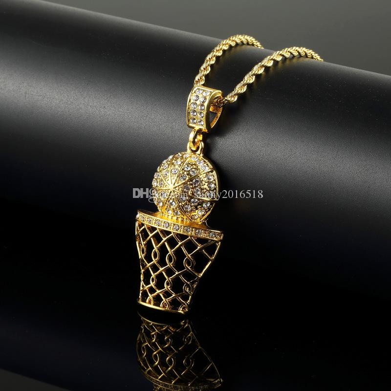 Fashion Hip Hop Iced Out 14K Gold Plated Mini Basketball Rim Pendant Necklace Long Chain Necklaces Mens Jewelry Gold Silver