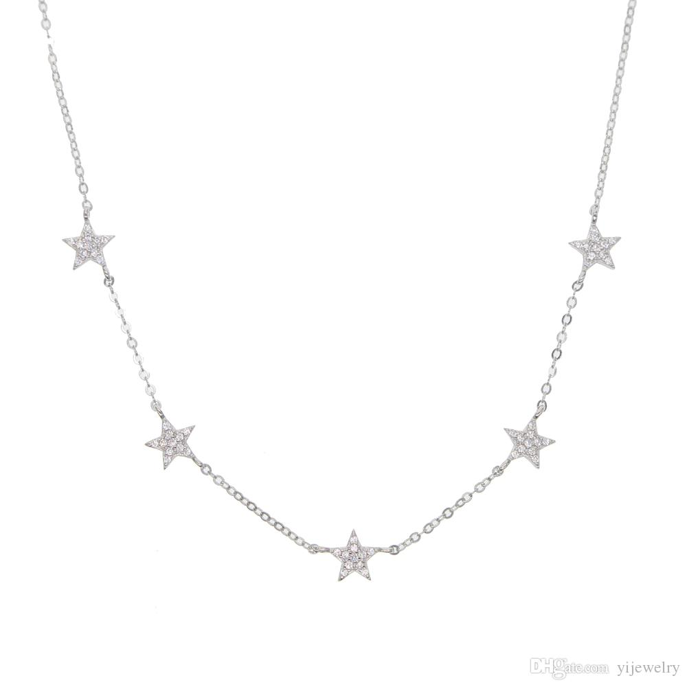 9a770227c21 925 sterling silver star necklace micro pave cz cute lovely star charm  delicate minimal fine silver chain choker charming necklaces