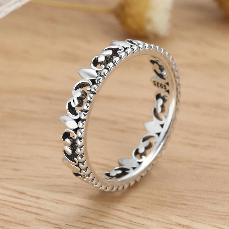 Fine Jewelry Sterling Silver Flower Stackable Ring NSHd4DB