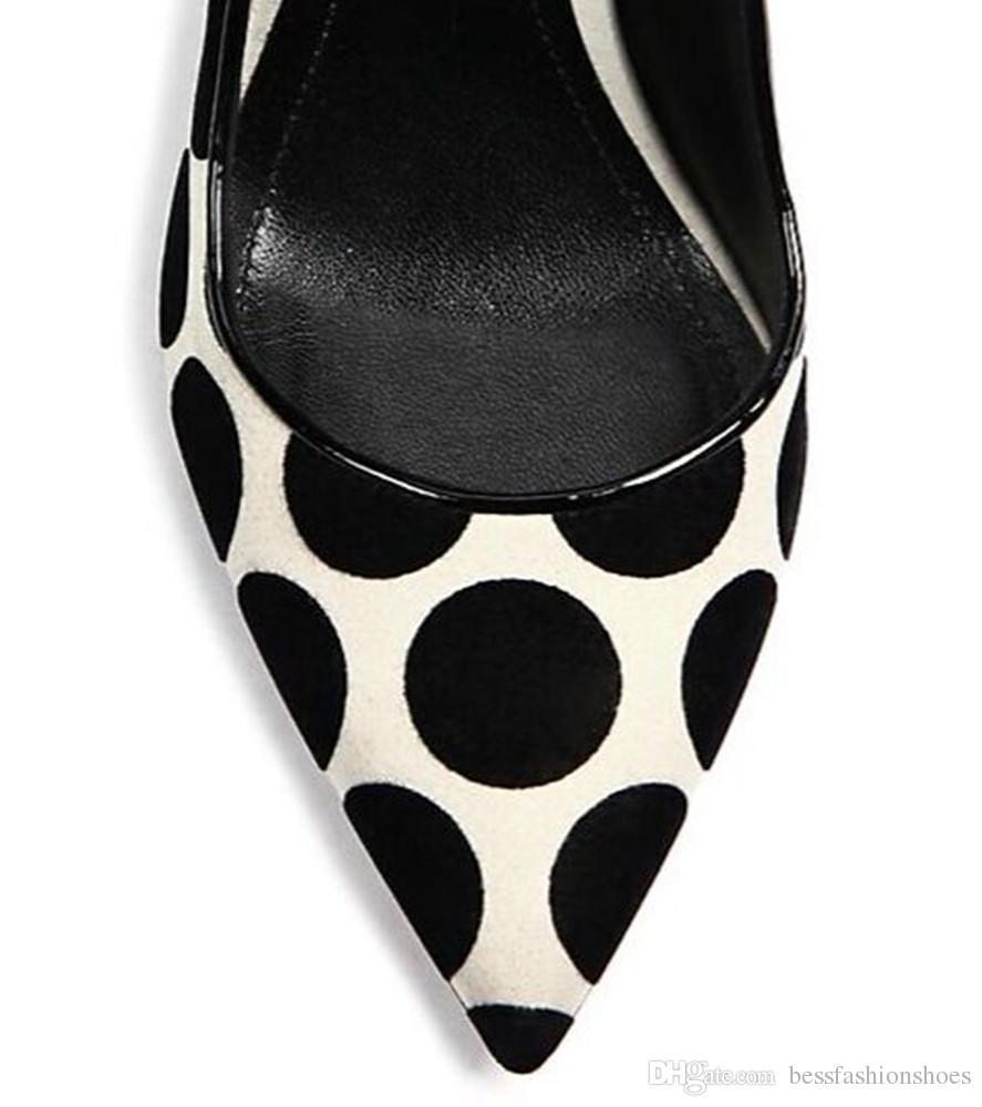 لؤلؤة الكعوب النساء اللباس أحذية مضخات 2018 ربيع الخريف عالية الكعب مضخات أحذية الزفاف منقطة أشار تو حزب مضخات أحذية Size35-40