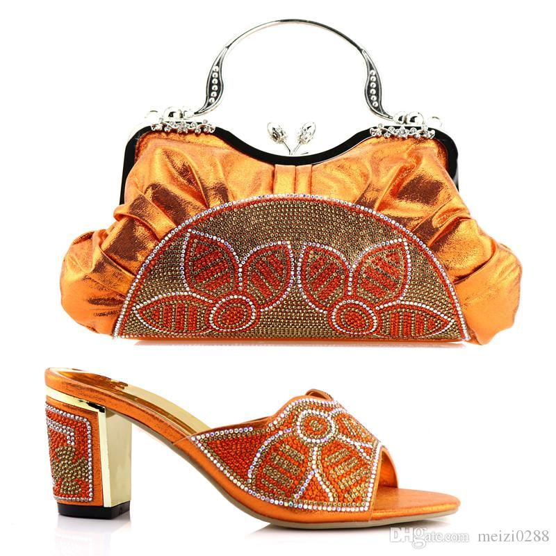 Orange Italian shoes and bags with rhinestone Africa wedding party 8cm heels and matching bags.AB76-1