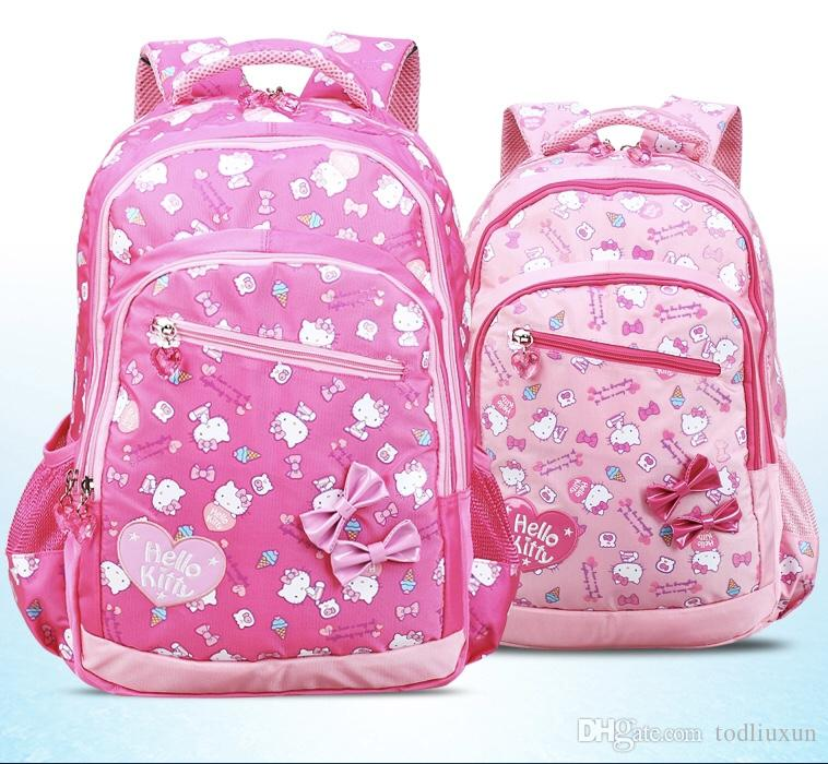 ffe6aea1b89f Hellokitty Backpacks For Hard Shelled Children Primary School Girls Backpack  For Grade 2 6 Rose Red And Large Capacity Girls Rolling Backpacks For School  ...