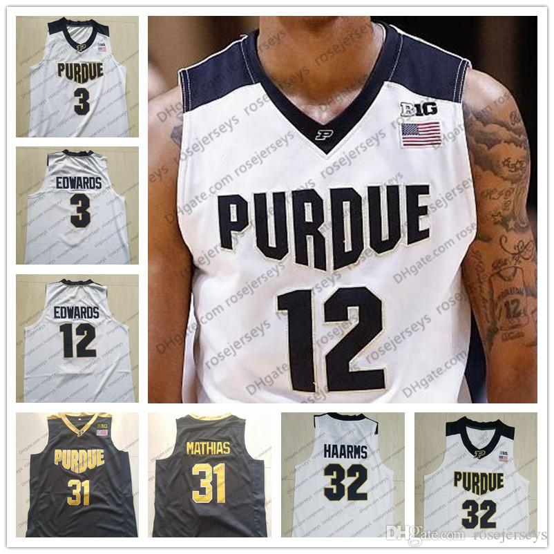 2018 ncaa purdue boilermaker 3 carsen edwards 12 vincent 31 dakota mathias 32 matt haarms black white stitched college basketball jerseys s 3xl from