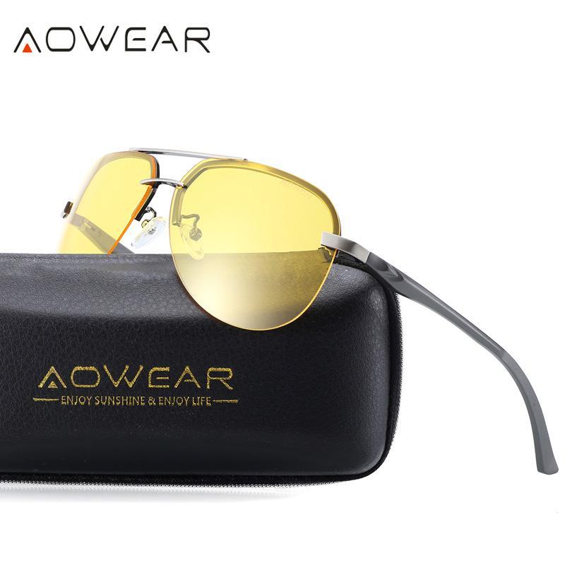 27d1ebbdaed AOWEAR HD Night Vision Glasses Men Polarized Aviation Yellow Sunglasses For Night  Driving Goggles Driver Anti Glare Sun Glasses Cycling Sunglasses Running ...