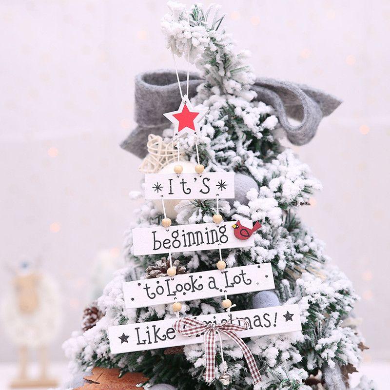 Nice Xmas Tree Hanging Wooden Pendant Ornaments Merry Christmas ...