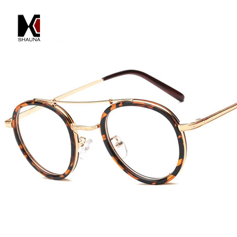 c6af1bbef89 2019 SHAUNA Retro Doule Bridges Women Round Leopard Glasses Frame Vintage Men  Clear Lens Eyewear From Naughtie