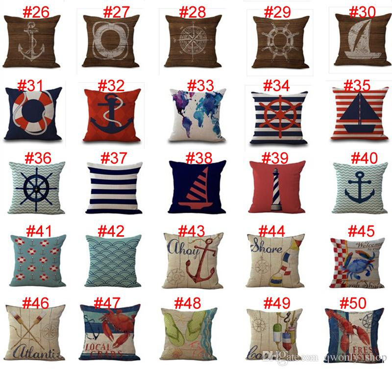 Sailing Anchor Rudder Pillow Case 45*45cm Cushion cover Linen Cotton Throw Pillowcases Home Décor sofa Bed Pillow covers