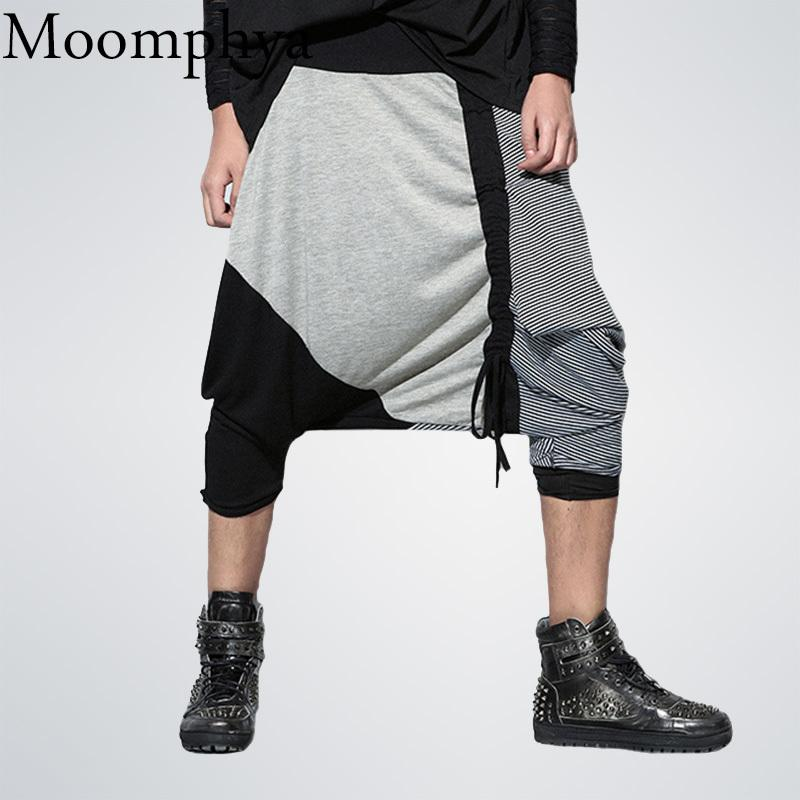 2018 New Arrived Men Cross Pants Striped Spliced pants men streetwear hip hop jogger Baggy