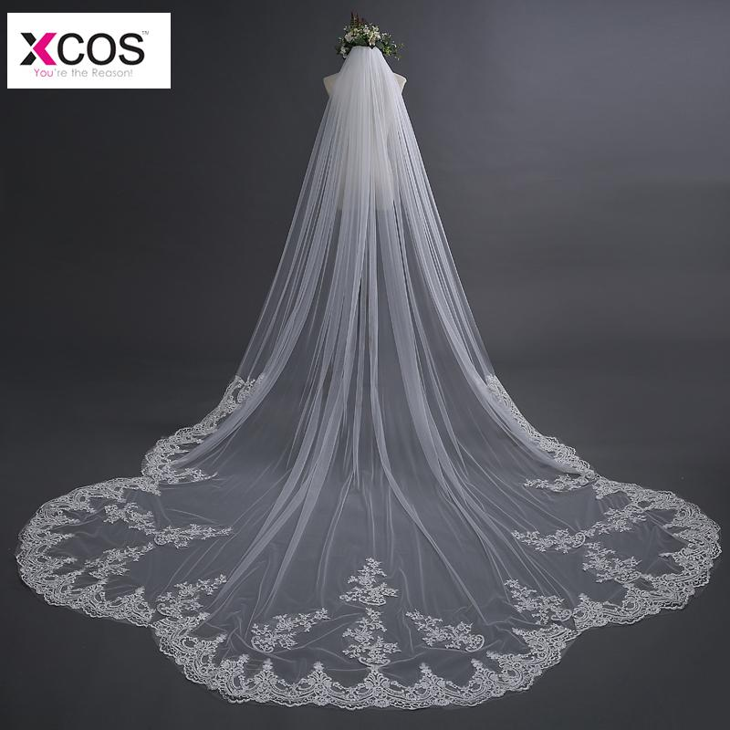 f4d8095c1f 3 Meter Ivory Cathedral Wedding Veils Long Lace Edge Applique Bridal Veil  With Comb Wedding Accessories Velos De Novia 2018 Wedding Veils Uk  Communion Veils ...