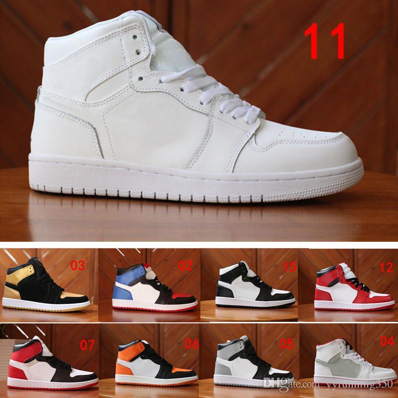 2018 Mens Women GOLD TOE 1 OG Men Basketball Shoes Game Royal Banned Shadow  Bred Mandarin Duck Sneakers High Quality Women Basketball Shoes Men  Basketball ... a0db66a9f