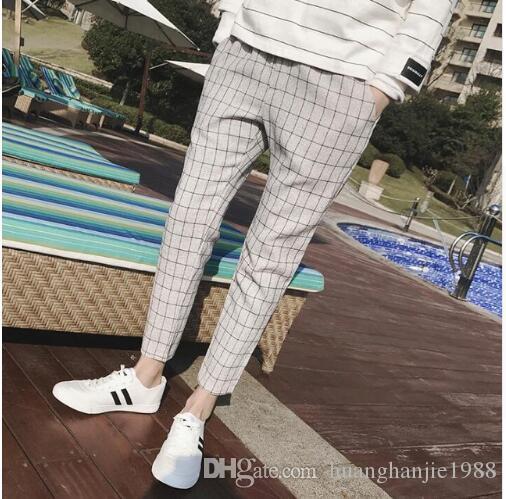 b154b3b7512 2019 Hot 2018 Summer New Brand Plaid Cropped Pants Men Britpop Fashionn  Harem Pants Mens Trends Casual Plus Size Costumes M 5XL From  Huanghanjie1988