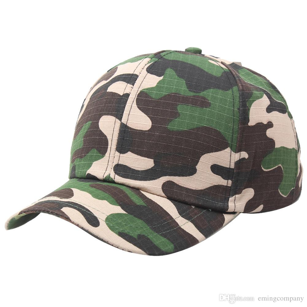 Designer Cheap Plain Curved Cotton Army Camouflage Baseball Caps For Adults  Mens Womens Blank Military Hats Spring Summer Sport Sun Visor Trucker Hat  ... ef2348dfdfe