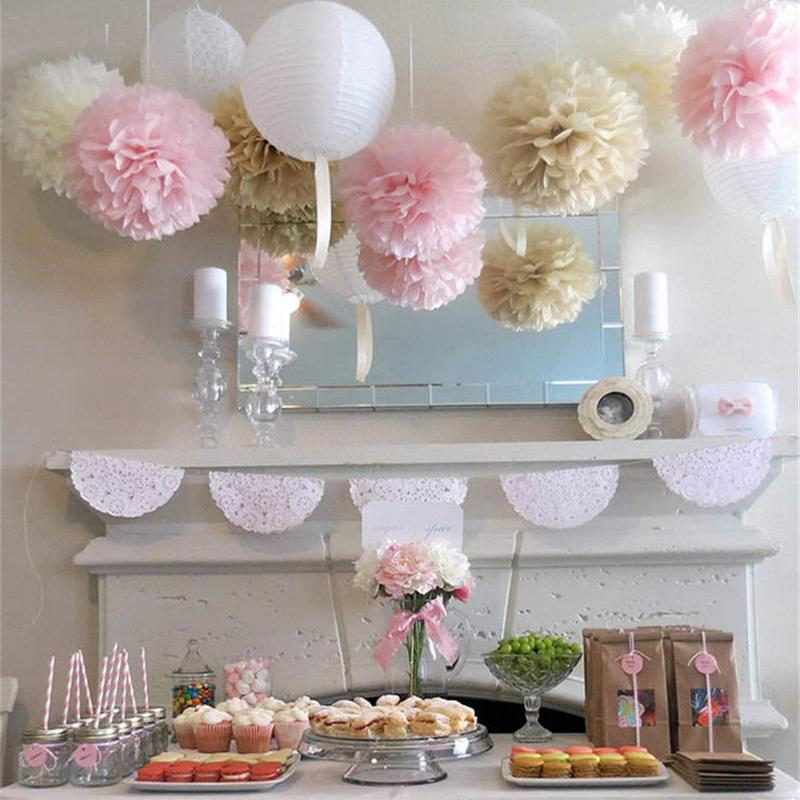 2pcs Cute Babyshower Decoration 30cm 12inch Tissue Paper Flowers Paper Pom Poms Balls Lanterns Party Decor Craft Wedding