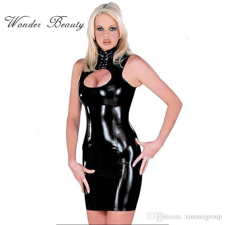85d632edb3 2019 2018 Sexy Women Latex Rubber Buckle Dress Keyhole Bust Bandage Black  PVC Sexy Faux Leather Cupless Vinyl Club Mini Dress From Xinmeigroup, ...