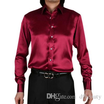 Atacado de Seda Como Cetim de Casamento Dos Homens de Cetim Elástico Camisa Noivo Camisas de Desgaste Noivo Slik Camisa Para Os Homens de Desempenho do Partido vestindo Camisas