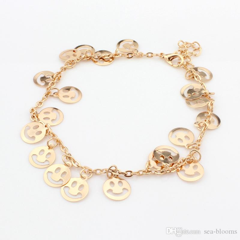 Color dorado para mujer 3 estilos Rose Flower Palm Smile Face Tobillera Pulsera Moda Foot Jewelry Accesorios D940L