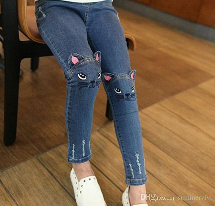 b3d3f0eb147c5 Girls Denim Pants Fashion Kids Cats Embroidery Jeans Children Hole Cowboy  Pockets Front Back Pencil Pants Girls Casual Cashmere Pants G0620 Girl  White Jeans ...