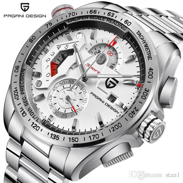 9760ce80291 Compre Pagani Design Cronógrafo Esporte Branco Relógios Homens Marca De  Luxo Relógio De Quartzo Completa De Aço Inoxidável Mergulho 30 M Relogio  Masculino ...