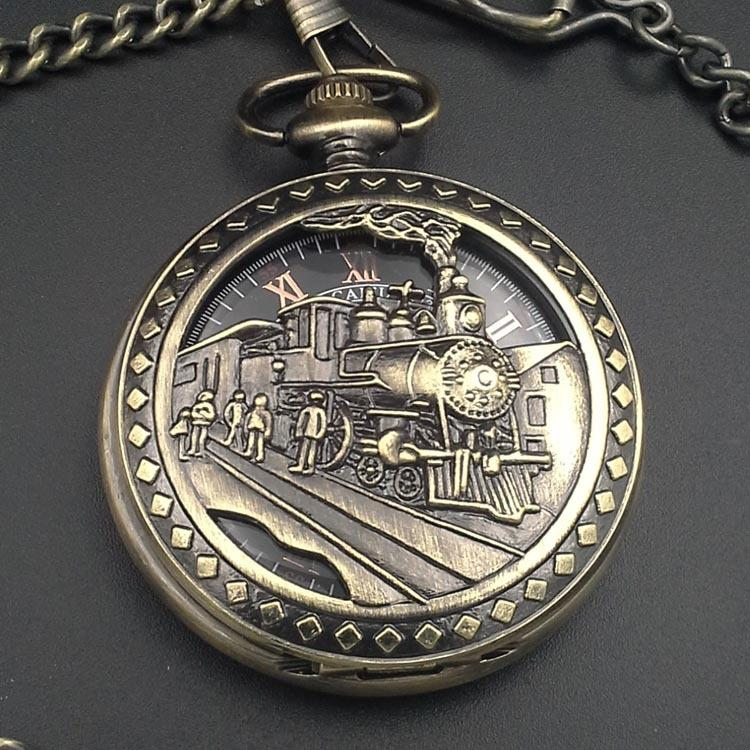 Vintage Style Bronze Tone CLOCK Mechanical Pocket Watch Man Pendant Watch Chain Steampunk Machinery H272 gift charm